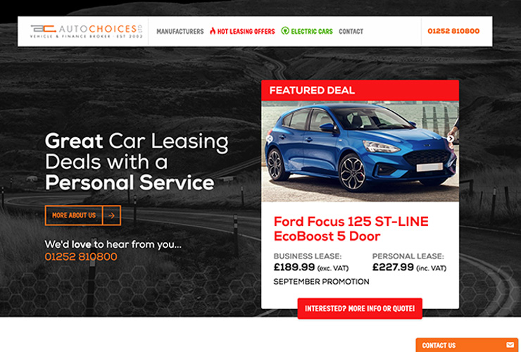 Auto Choices car leasing website