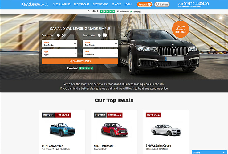 Key2Lease leasing website