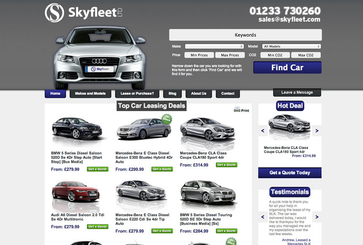 Skyfleet Car Leasing website